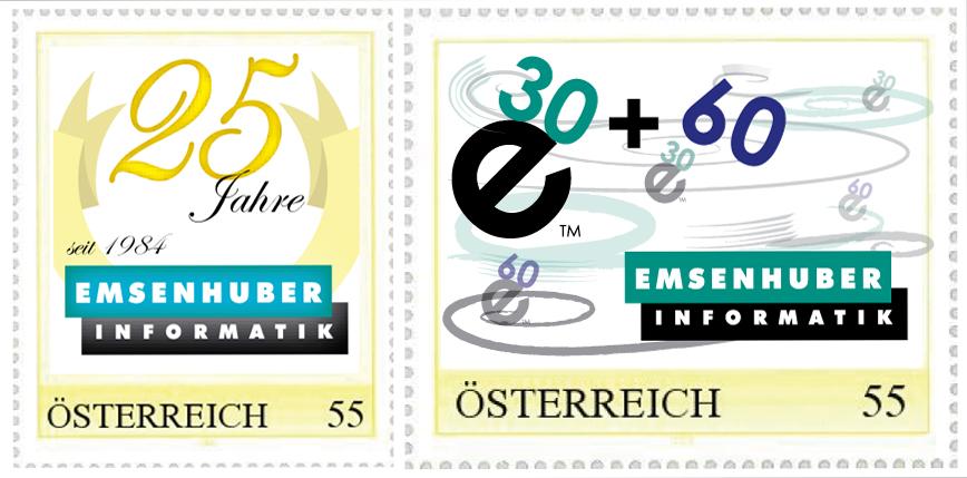 Briefmarken zu 25 Jahre Emsenhuber Informatik (2008)